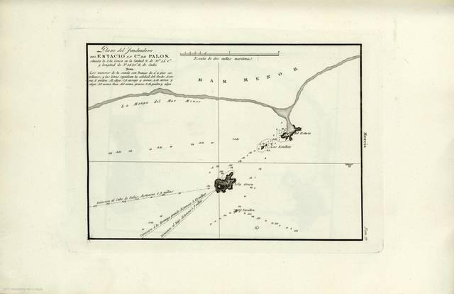 """Plano del Fondeadero del Estacio en el C. de Palos : situada la Isla Grosa en la latitud N. de 37º 44' 6"""" y longitud de 5º 38' 23"""" E. de Cadiz"""