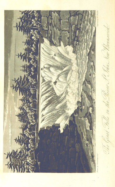 """Grand Falls from """"A Topographical Description of the Province of Lower Canada, with remarks upon Upper Canada, and on the relative connexion of both provinces with the United States of America ... Embellished by several views, plans, etc. [With a portrait.]"""""""