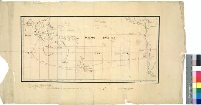 Mapa del Oceano Pacifico : con las derrotas de las fragatas San Rafael (alias la Palas) en 1802, la fragata Santa Rosa de Lima (alias la Ramoncita) en 1813 y la fragata San Fernando (alias el Príncipe de Asturias) en 1815 [Mapa]