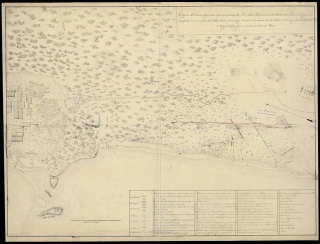 Croquis del terreno comprendido entre la embocadura del Río Santi - Petri el cerro de la Caveza del Puerco en el que se manifiestan los movimientos del Ejército aliado y del enemigo durante las dos acciones del 5 de Marzo de 811, en que fue derrotado el 1er. Cuerpo del Ejto. frances al mando del Mariscal Victor