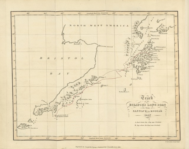 """map from """"A Voyage round the World, from 1806 to 1812 ... Including a narrative of the author's shipwreck on the island of Sannack with an account of the ... Sandwich Islands and a vocabulary of their language. [Edited by James Smith. With a map.]"""""""