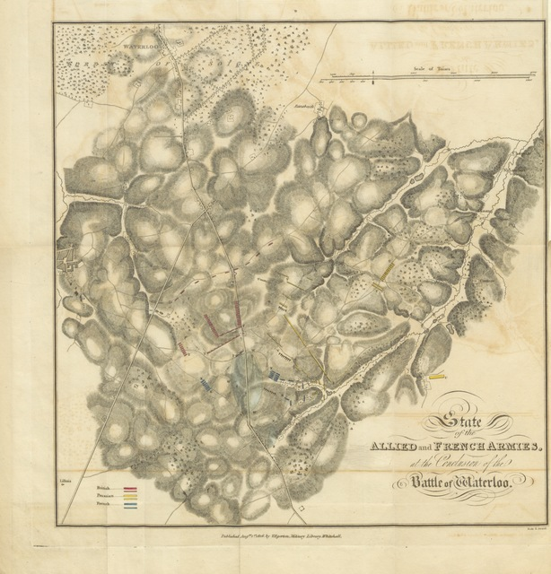 """map from """"History of the Campaign of the British, Dutch, Hanoverian, and Brunswick armies, under the command of the Duke of Wellington; and of the Prussians under that of Prince Blucher ... in ... 1815: with a plan of the battle of Waterloo ... by C. de M. [i.e. Baron F. C. F. von Müffling]. Together, with an account of the origin of the publication, and some particulars regarding Bonaparte's conduct during the battle of Waterloo ... by ... Sir J. Sinclair"""""""