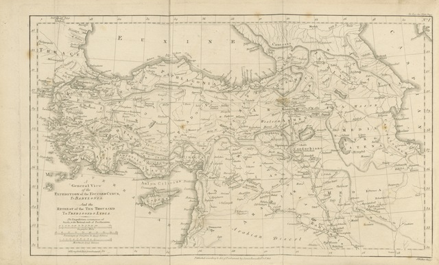 "map from ""Illustrations, chiefly geographical, of the history of the Expedition of Cyrus from Sardis to Babylonia; and the Retreat of the Ten Thousand Greeks, from thence to Trebisonde and Lydia. With an appendix, containing an enquiry into the best method of improving the geography of the Anabasis, &c. Explained by three maps"""