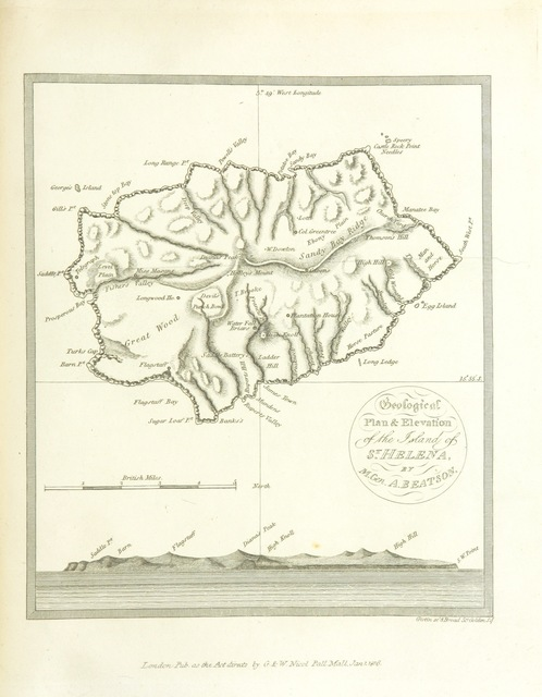 """map from """"Tracts relative to the Island of St. Helena; written during a residence of five years ... Illustrated with views engraved by Mr. William Daniell, from the drawings of Samuel Davis"""""""