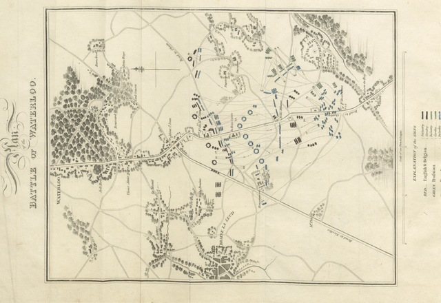 """map from """"A Full and Circumstantial Account of the Memorable Battle of Waterloo: the second restoration of Louis XVIII; and the deportation of Napoleon Buonaparte to the island of St. Helena and every recent particular relative to his conduct and mode of life in his exile. Together with an interesting account of the affairs of France, and biographical sketches of the most distinguished Waterloo heroes. Embellished with engravings"""""""