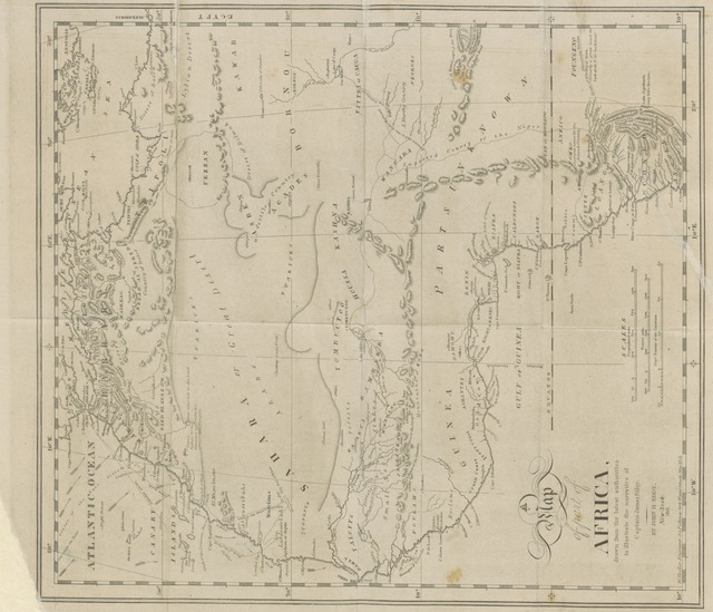 """map from """"An Authentic Narrative of the loss of the American Brig Commerce, wrecked on the Western Coast of Africa, in the month of August 1815. With an account of the sufferings of her surviving officers and crew, ... and observations historical, geographical, etc"""""""