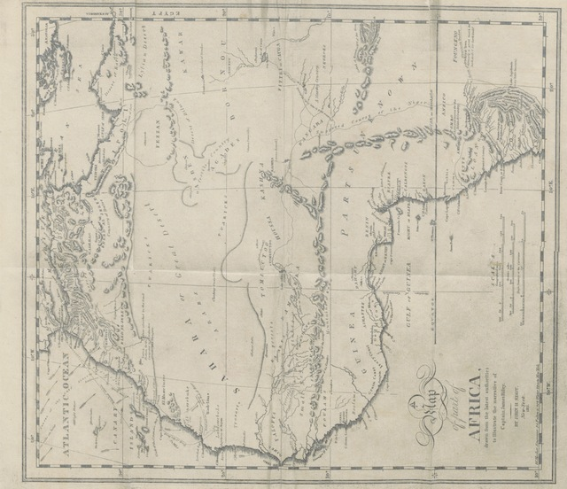 """map from """"[An Authentic Narrative of the loss of the American Brig Commerce, wrecked on the Western Coast of Africa, in the month of August 1815. With an account of the sufferings of her surviving officers and crew, ... and observations historical, geographical, etc.]"""""""