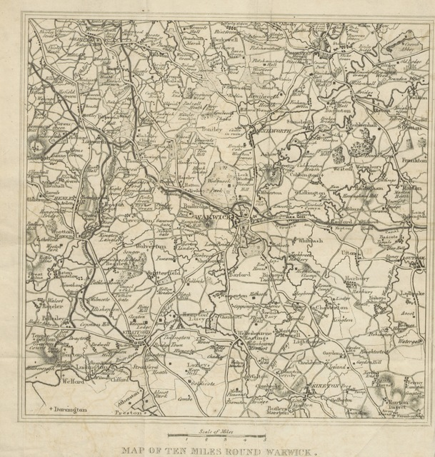 """map from """"An historical and descriptive account of Leamington and Warwick; to which are added, short notices of the towns, villages, etc. within the circuit of ten miles. Abridged from a larger work (An historical and descriptive account of the town and Castle of Warwick, etc. [Signed, W. F., i.e., William Field.])"""""""