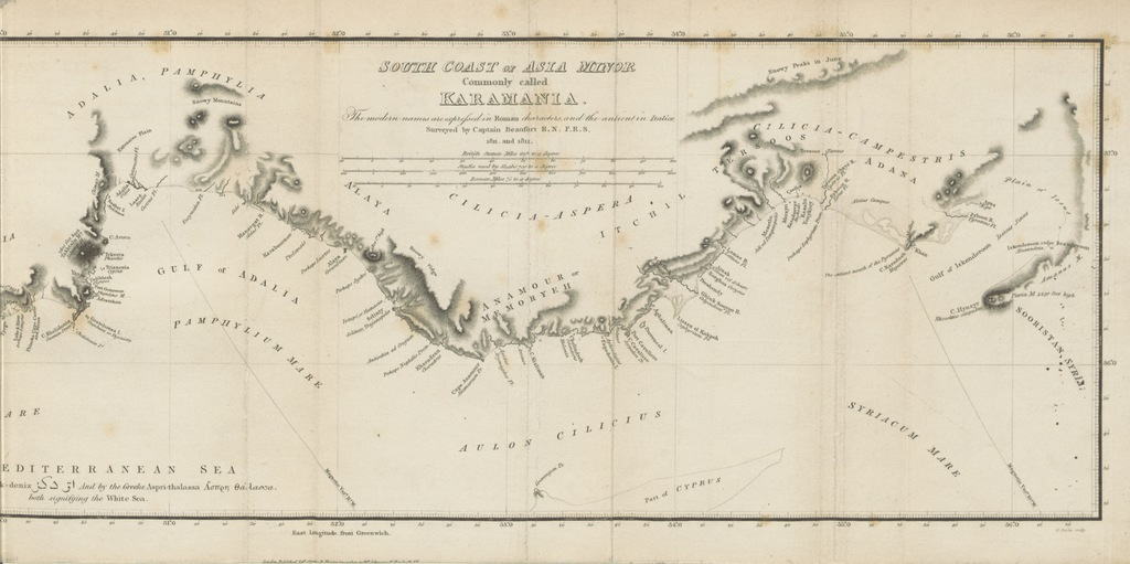 """map from """"Karamania, or, a brief description of the South Coast of Asia-Minor and of the remains of antiquity. With plans, views, etc"""""""