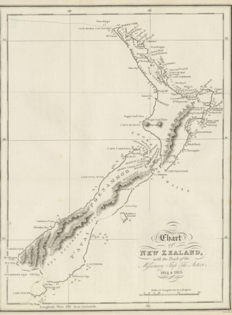 """map from """"Narrative of a Voyage to New Zealand, performed in the years 1814 and 1815, in company with the Rev. S. Marsden, etc"""""""