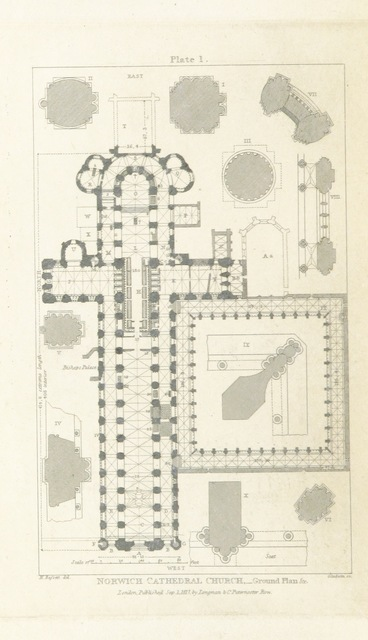 """map from """"Norwich Cathedral Vade-Mecum. Antiquarian and architectural memoranda relating to Norwich Cathedral Church: embracing a brief historical and descriptive account of that edifice, with lists of bishops, etc"""""""