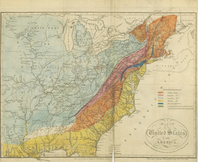 "map from ""Observations on the geology of the United States of America, with some remarks on the effect produced on the nature and fertility of soils, by the decomposition of the different classes of rocks; and an application to the fertility of every state in the Union, etc"""