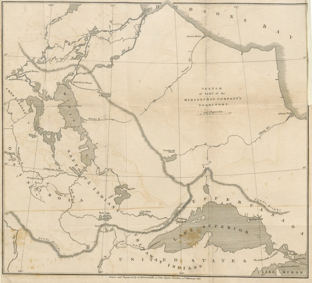 "map from ""Statement respecting the Earl of Selkirk's settlement of Kildonan, upon the Red River in North America: its destruction in the years 1815 and 1816; and the massacre of Governor Semple and his party"""
