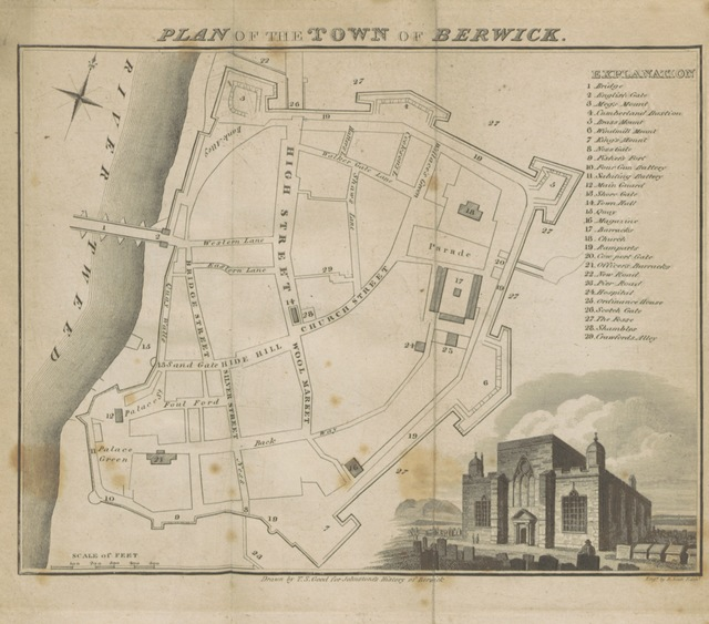 """map from """"The history of Berwick-upon-Tweed and its vicinity. To which is added a correct copy [or rather, translation] of the Charter granted to that borough"""""""
