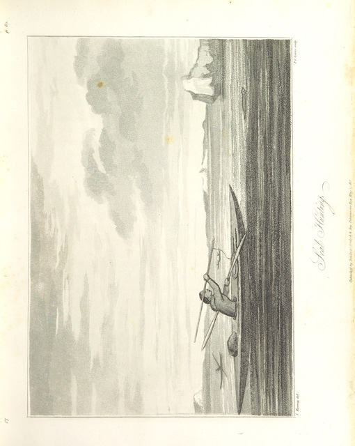 """hunters from """"Greenland, the adjacent seas, and the North-West Passage to the Pacific Ocean, illustrated in a voyage to Davis's Strait, during the summer of 1817"""""""
