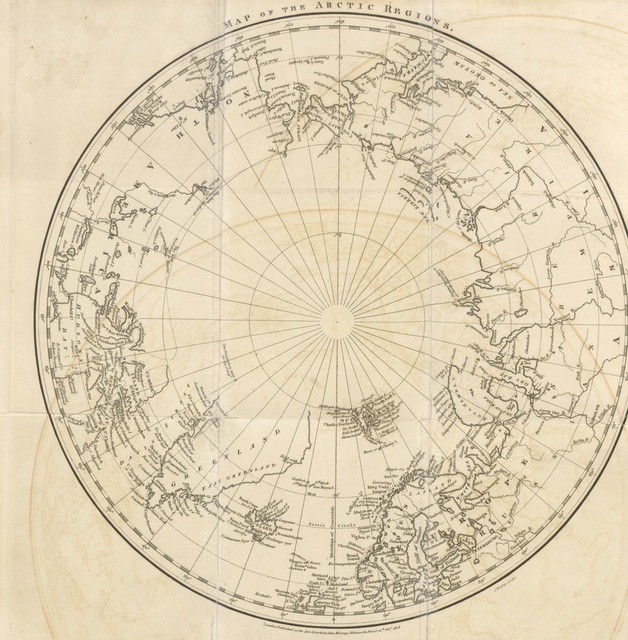"""map from """"A Chronological History of Voyages into the Arctic Regions; undertaken chiefly for the purpose of discovering a North-East, North-West, or Polar Passage between the Atlantic and Pacific; from the earliest periods of Scandinavian navigation to the departure of the recent expeditions under the orders of Captain Ross and Buchan"""""""