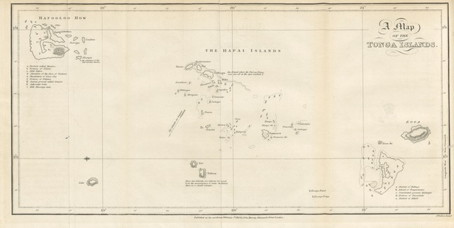 """map from """"[An account of the natives of the Tonga Islands in the South Pacific Ocean, with an original grammar of their language ... compiled ... from the ... communications of W. M. ... by J. Martin.]"""""""
