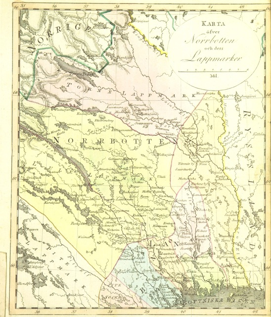 """map from """"Berättelse om Norrboten och dess Lappmarker ... utgifven af A. Roman"""""""