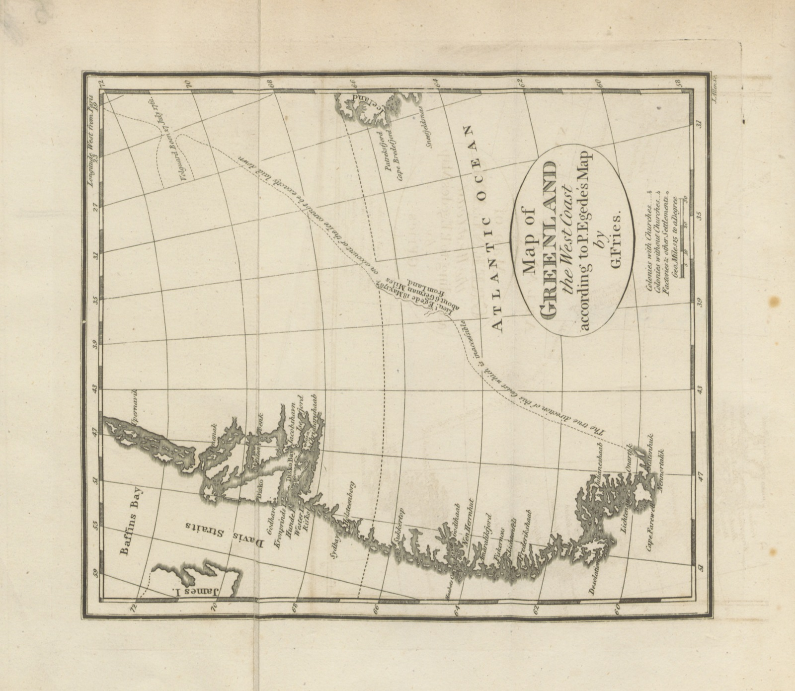 """map from """"Greenland: being extracts from a journal kept in that country in ... 1770 to 1778. ... to which is prefixed, an introduction containing some accounts of the manners of the Greenlanders, and of the mission in Greenland ... by G. Fries. Translated from the German [by H. E. Lloyd]"""""""