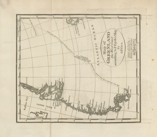 "map from ""Greenland: being extracts from a journal kept in that country in ... 1770 to 1778. ... to which is prefixed, an introduction containing some accounts of the manners of the Greenlanders, and of the mission in Greenland ... by G. Fries. Translated from the German [by H. E. Lloyd]"""