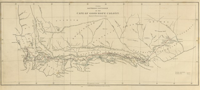 "map from ""Journal of a Visit to South Africa, in 1815, and 1816. With some account of the Missionary Settlements of the United Brethren, near the Cape of Good Hope"""