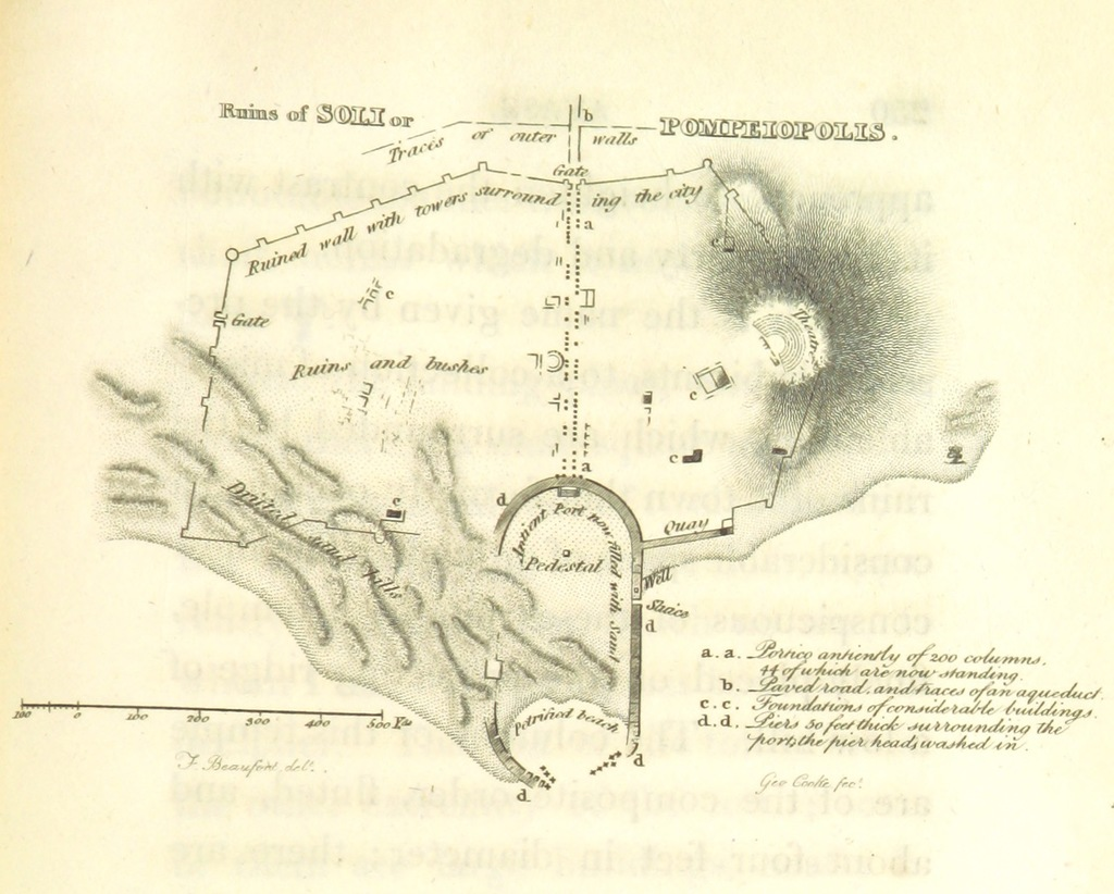 """map from """"[Karamania, or, a brief description of the South Coast of Asia-Minor and of the remains of antiquity. With plans, views, etc.]"""""""