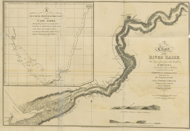 "map from ""Narrative of an Expedition to explore the river Zaire, usually called the Congo, in South Africa, in 1816 under the direction of Captain J. K. Tuckey, R.N. To which is added, the journal of Professor Smith; some general observations on the country and its inhabitants; and an appendix: containing the natural history of that part of the kingdom of Congo through which the Zaire flows. (Observations on Professor C. Smith's collection of plants from the vicinity of the river Congo, by R. Brown.) [Edited by Sir J. Barrow.]"""