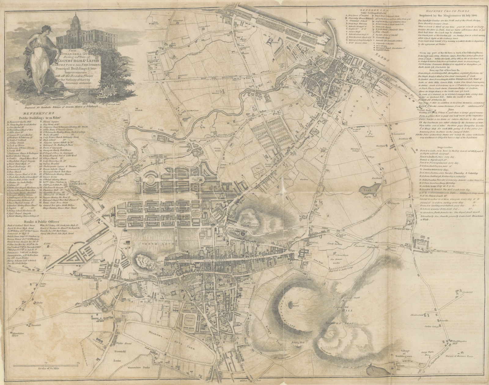 """map from """"[The History of Edinburgh, from the earliest accounts, to ... 1780 ... To which is added, a sketch of the improvements of the city, from 1780 to 1816. Embellished with an elegant plan of the city.]"""""""
