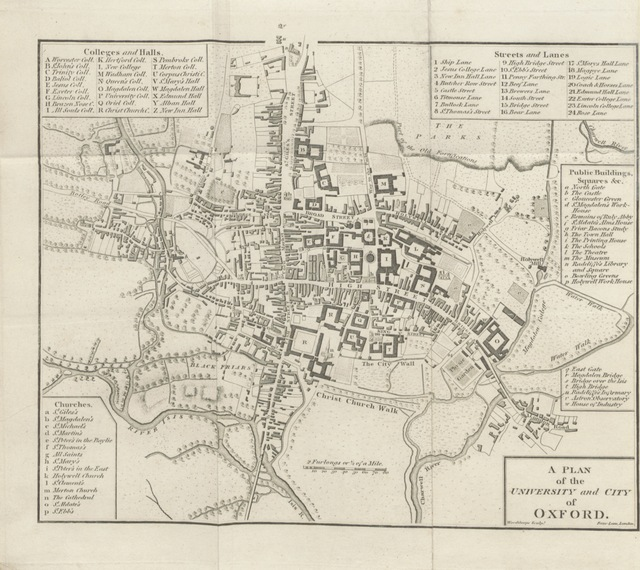 """map from """"The Oxford University and City Guide, on a new plan ... To which is added a guide to Blenheim, Nuneham, and the newly-discovered Roman Villa near Northleigh"""""""