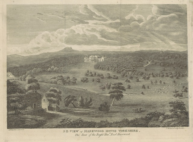 """Harewood from """"The tourist's companion, or the history and antiquities of Harewood, in Yorkshire, giving a particular description of Harewood House, Church and Castle, etc. [With a pedigree of the family of Lascelles.]"""""""