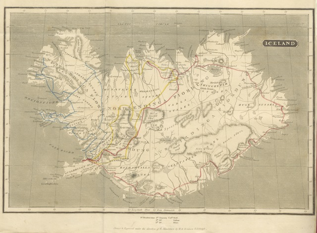 """map from """"Iceland; or the Journal of a residence in that island, during the years 1814 and 1815 ... Illustrated with a map and engravings. The second edition"""""""