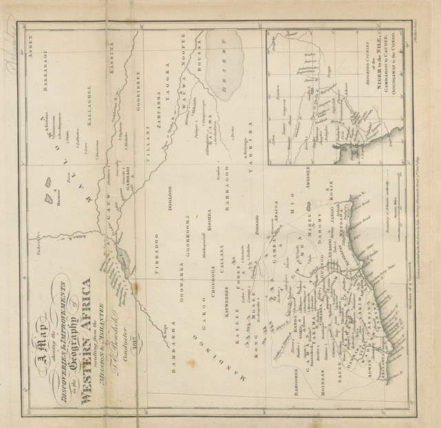 "map from ""Mission from Cape Coast Castle to Ashantee; with a statistical account of that kingdom, and geographical notices of other parts of the interior of Africa. [With plates and maps.]"""
