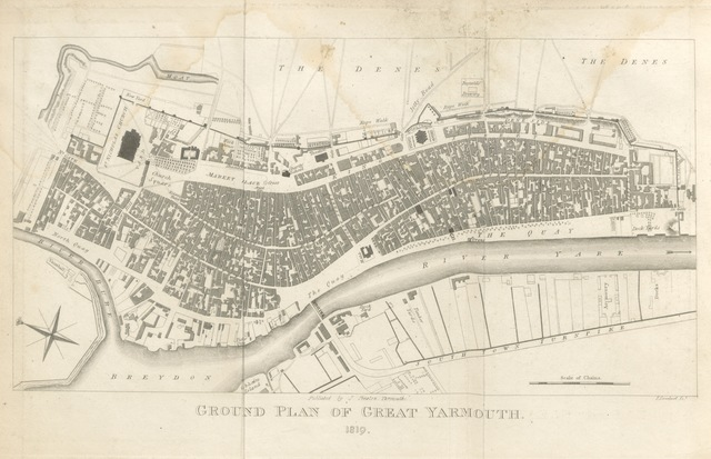 """map from """"The Picture of Yarmouth; being a compendious history and description of all the public establishments within that borough; together with a concise topographical account of ancient and modern Yarmouth, including its fisheries, etc. With numerous plates"""""""