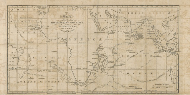 "map from ""Voyage along the Eastern Coast of Africa ... to St. Helena; to Rio de Janeiro, Bahia, and Pernambuco in Brazil, in the Nisus Frigate. [With two charts.]"""