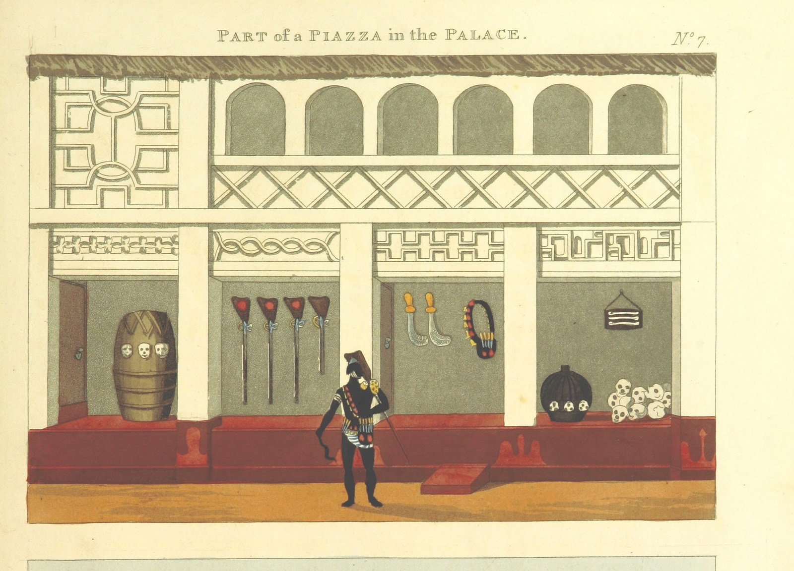 """piazza from """"Mission from Cape Coast Castle to Ashantee; with a statistical account of that kingdom, and geographical notices of other parts of the interior of Africa. [With plates and maps.]"""""""