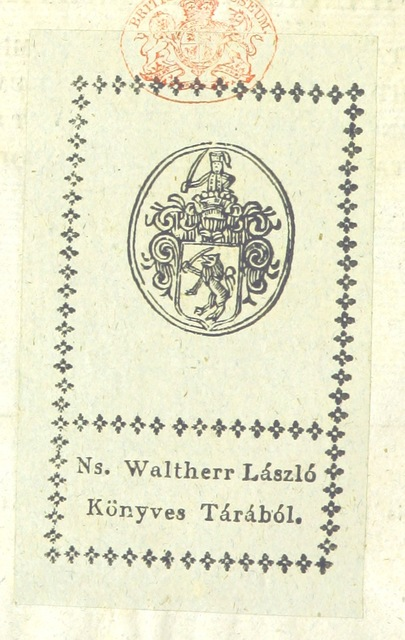 """bookplate from """"Disquisitio notitiarum antiquarum liberæ regiæque civitatis Strigoniensis et arcis archi-episcopalis nominis ejusdem. [With a plate.]"""""""