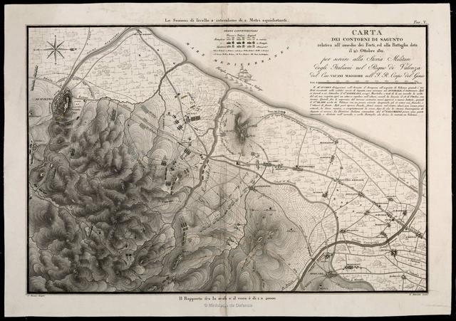 Carta dei contorni di Sagunto relativa all'asedio dei Forti, ed alla Battaglia data il 25 Ottobre 1811 : per servire alla storia Militare degli Italiani nel Regno di Valenza