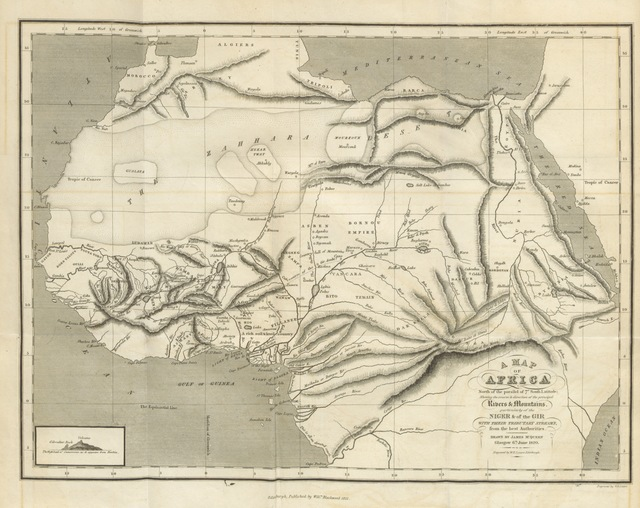 """map from """"A Geographical and Commercial View of Northern Central Africa: containing a particular account of the course and termination of the great river Niger in the Atlantic Ocean"""""""