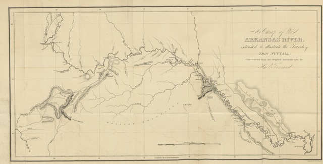 """map from """"A Journal of travels into the Arkansa Territory, during the year 1819, etc"""""""