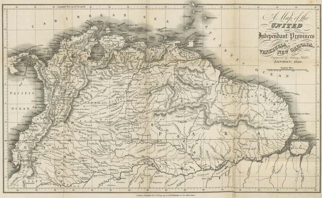 """map from """"[A Statistical, Commercial, and Political Description of Venezuela, Trinidad, Margarita and Tobago ... From the French of M. Lavaysse: with an introduction and explanatory notes, by the editor. [The editor's introduction signed: E. B., i.e. Edward Blaquiere. With a map.]]"""""""