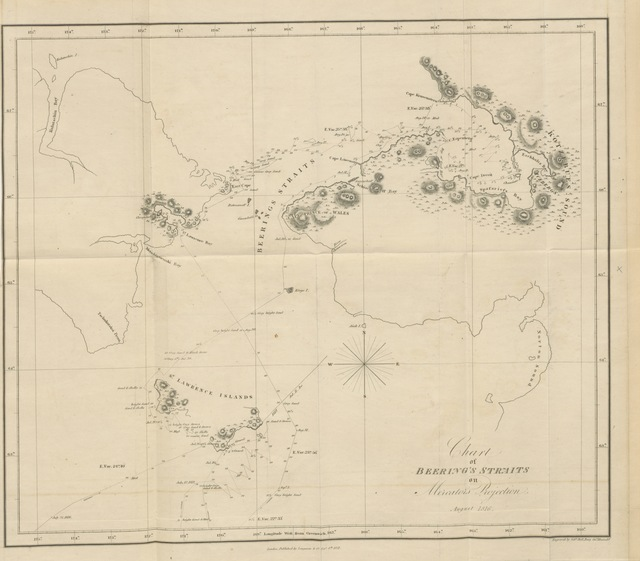 "map from ""A Voyage of Discovery, into the South Sea and Beering's Straits, for the purpose of exploring a North-East Passage ... in ... 1815-1818. [Including the introduction by A. J. von Krusenstern; Instructions for Astronomical observations by Hörner, and an Appendix containing remarks on natural History by F. Eschscholtz.] ... With ... plates and Maps. (Remarks and opinions of the Naturalist of the Expedition, A. von Chamisso.) [Translated from the Russian by H. E. Lloyd.]"""