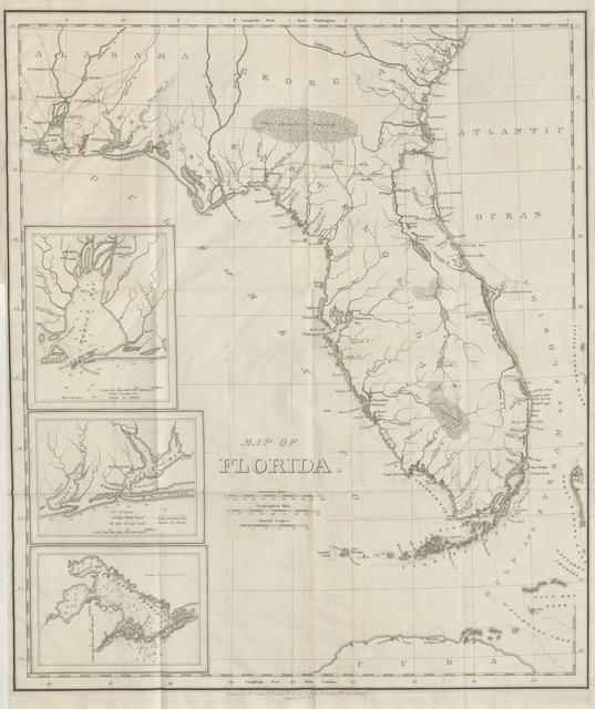 "map from ""Memoir of the Geography, and Natural and Civil History of Florida, attended by a map ... and an appendix, containing the treaty of cession, and other papers relative to the subject"""