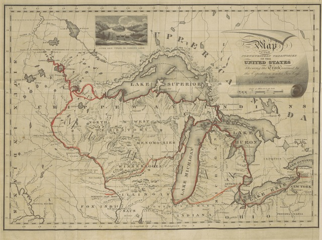 """map from """"Narrative Journal of Travels, through the North Western regions of the United States, extending from Detroit through the great chain of American Lakes, to the sources of the Mississippi Rivers, performed as a member of the expedition under Governor Cass, in the year 1820 ... Embellished with a map and eight copper plate engravings"""""""