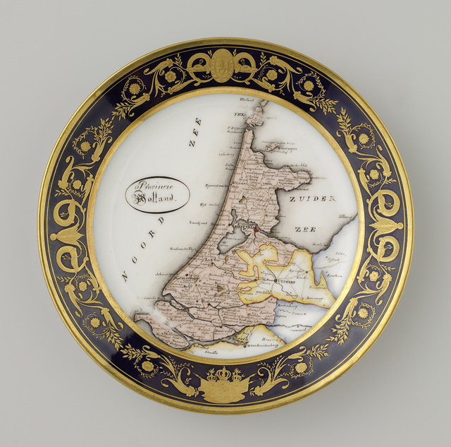 18 plates, each decorated with a Netherlandish province