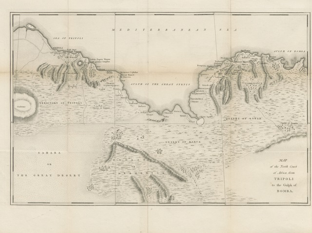 "map from ""Narrative of an Expedition from Tripoli in Barbary, to the Western Frontier of Egypt, in 1817, by the Bey of Tripoli ... With an appendix, containing instructions for navigating the great Syrtis. Translated ... by Anthony Aufrere. [With a map.]"""