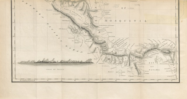 """map from """"Sketch of the Mosquito Shore, including the Territory of Poyais, etc"""""""