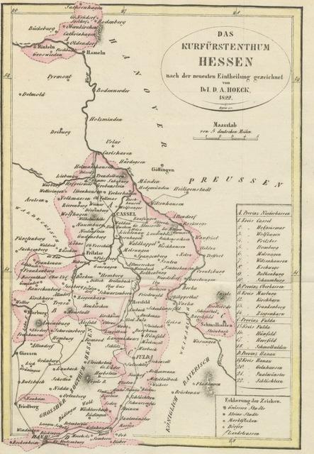 """map from """"Statistik und Topographie des Kurfürstenthums Hessen nach der neuesten Eintheilung. ... Mit einer Karte"""""""
