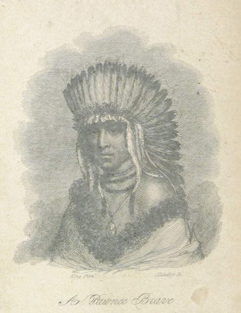 """portrait from """"A Report to the Secretary of War of the United States, on Indian affairs, comprising a narrative of a tour performed in 1820 under a commission from the President ... for the purpose of ascertaining ... the actual state of the Indian tribes in our country"""""""