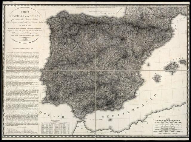Carta Generale delle Spagne per servire alla Storia Militare delle Campagne sostenute dalle varie division italiane dal 1808 al 1813...