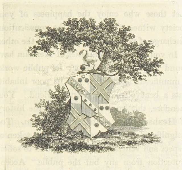 "coat of arms from ""An Essay towards a History of Hexham ... illustrating its ancient and its present state, civil and ecclesiastical economy, antiquities and statistics, with descriptive sketches of the scenery and natural history of the neighbourhood"""
